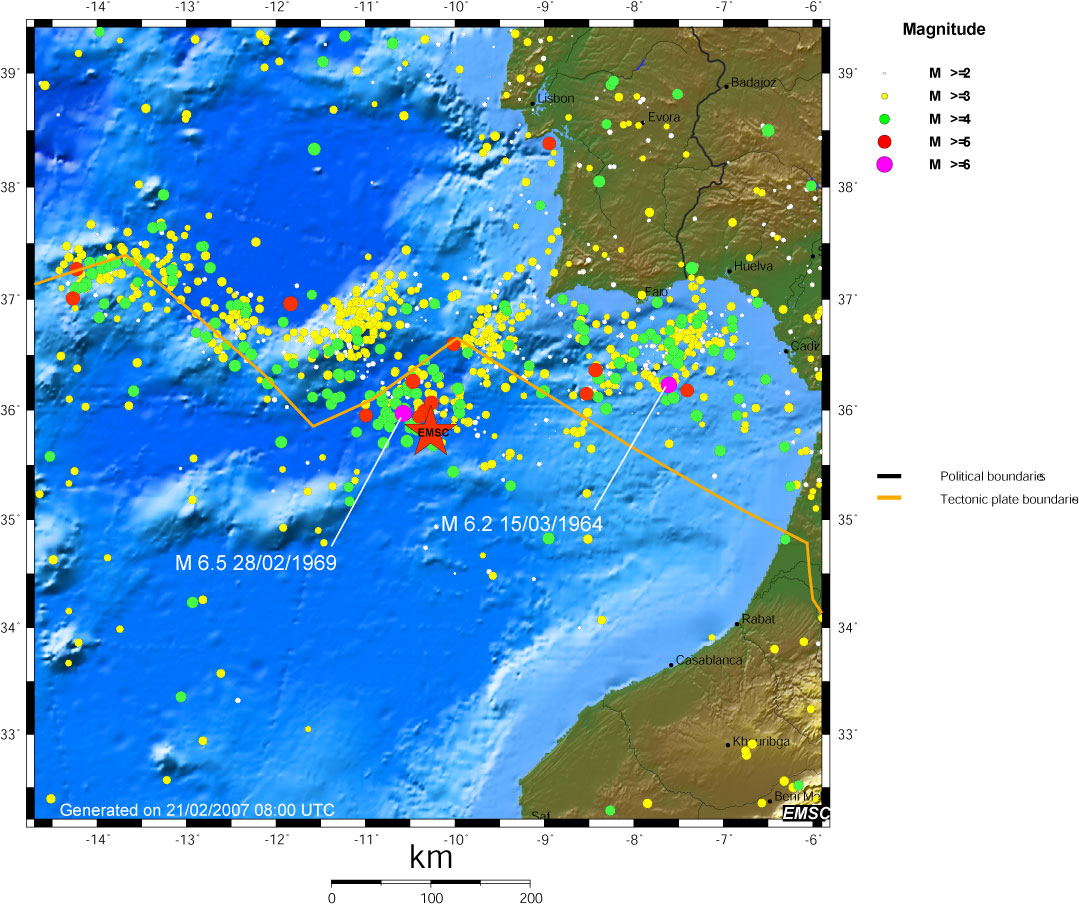 Spatial distribution of the seismicity