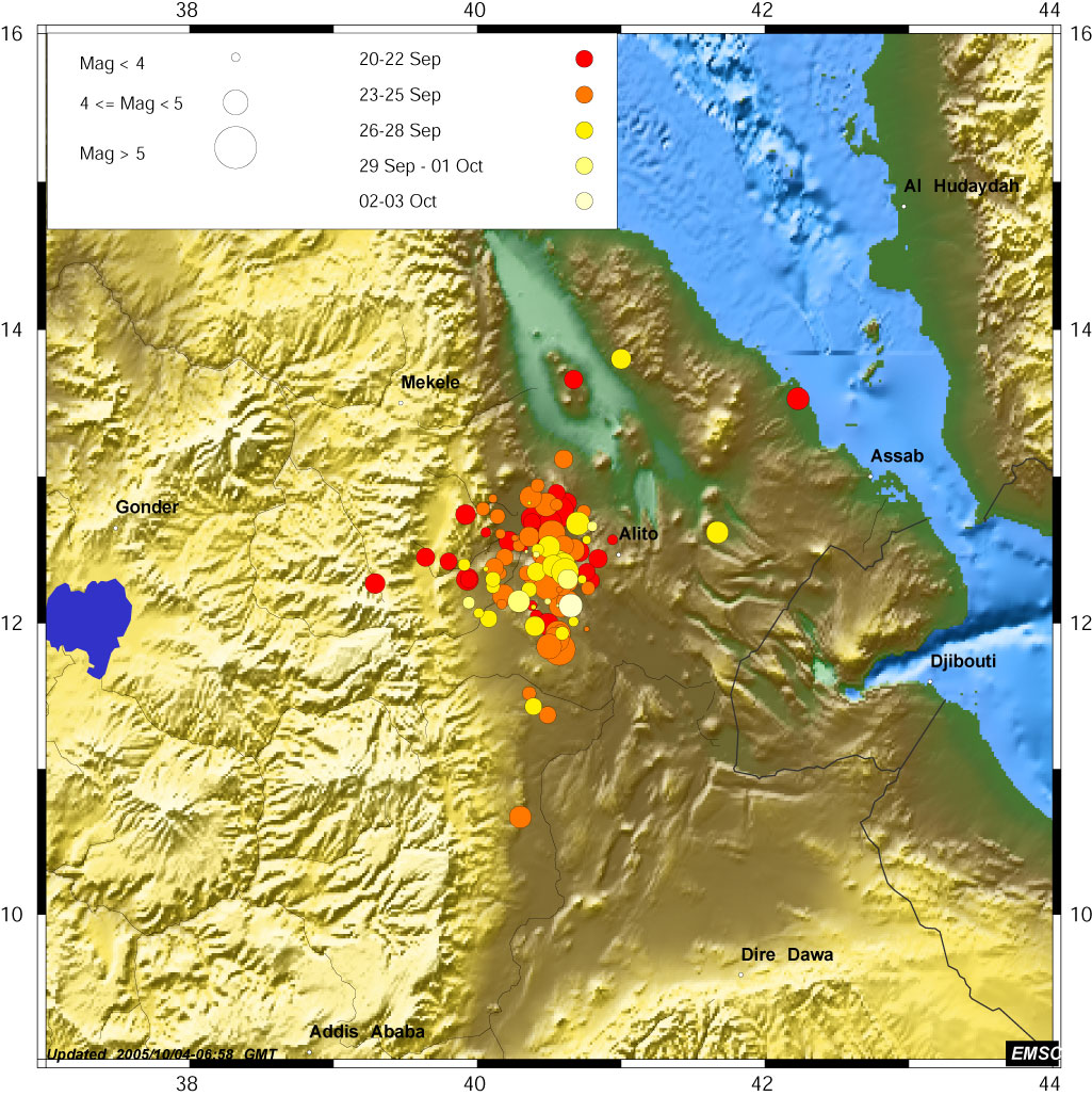 Earthquake activity in Ethiopia