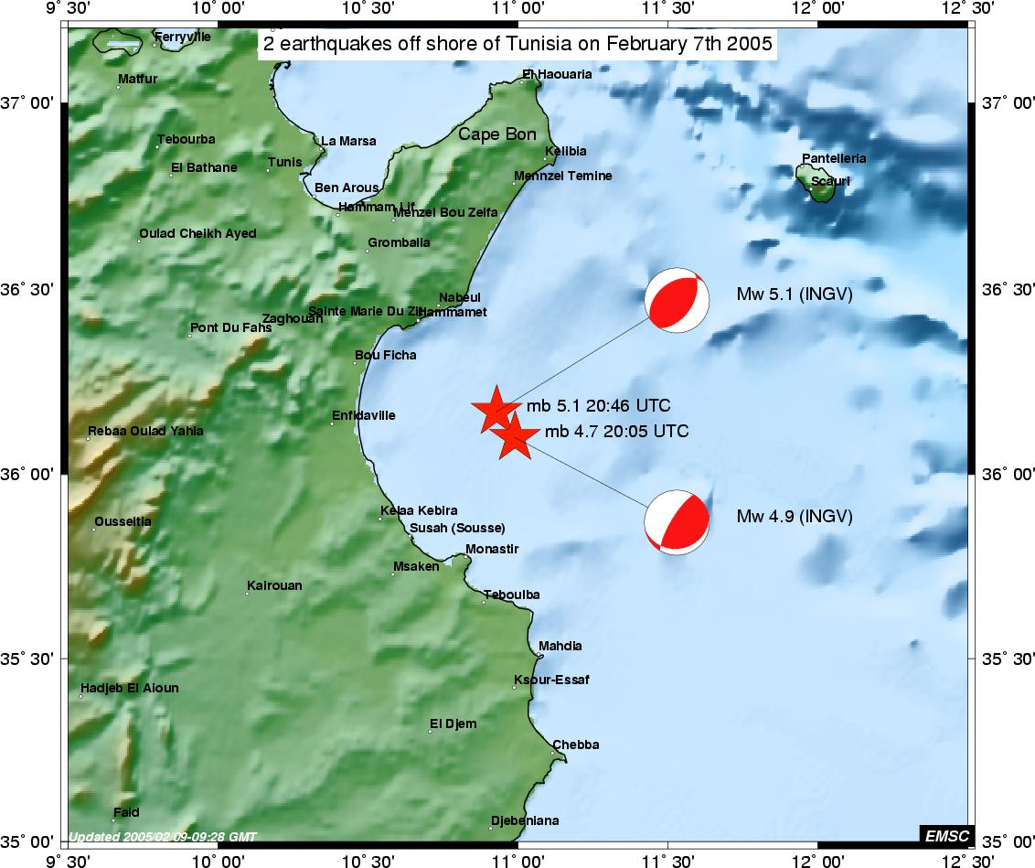 2 events off shore of Tunisia