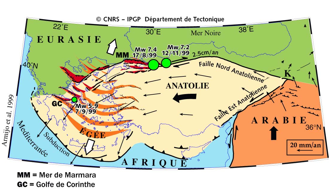 Tectonic faults active in Turkey (Armijo, IPGP, France)