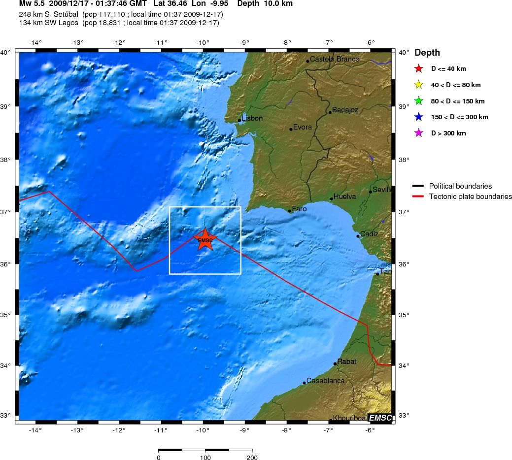 Mw 55 west of gibraltar on december 17th 2009 at 0137 utc epicenter location and regional seismicity gumiabroncs Choice Image