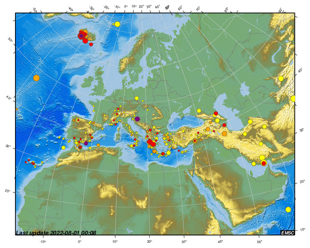 European-Mediterranean Earthquake Map