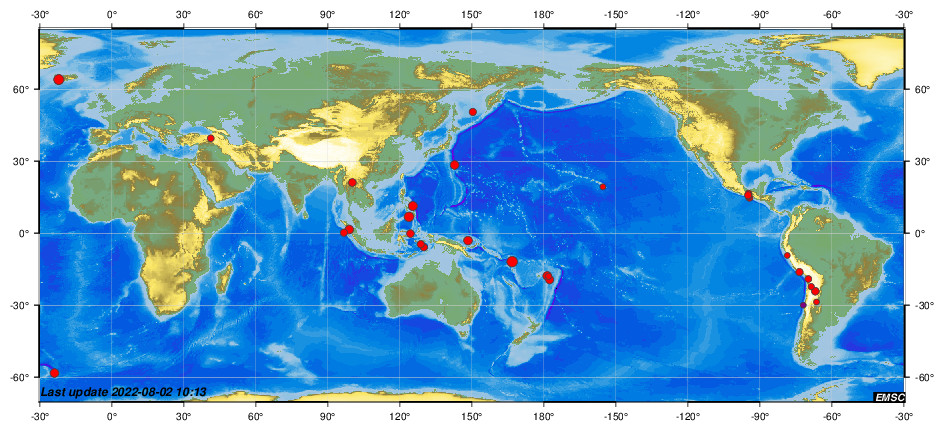 Recent earthquakes worldwide (during the last 2 weeks)